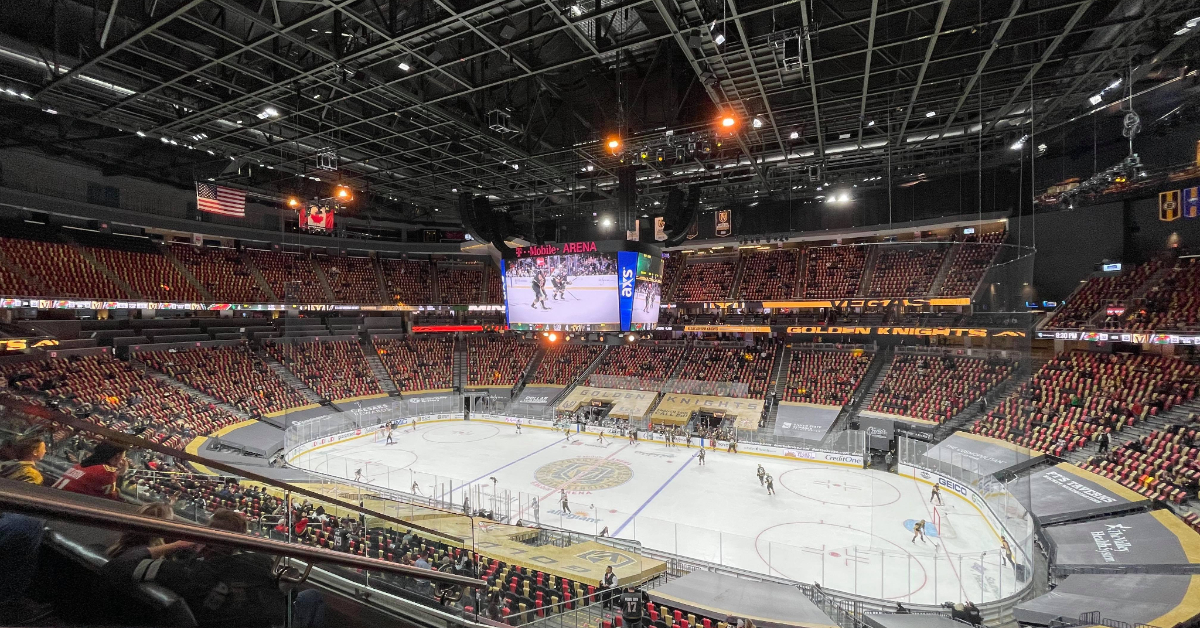 An interior view of the Vegas Golden Knights' ice rink from inside T-Mobile Arena.