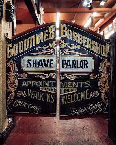 Decorated saloon doors at Goodtimes Barbershop in Las Vegas