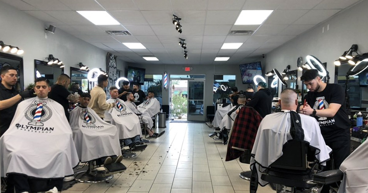 Inside the Olympian Barbershop located off the strip in Las Vegas