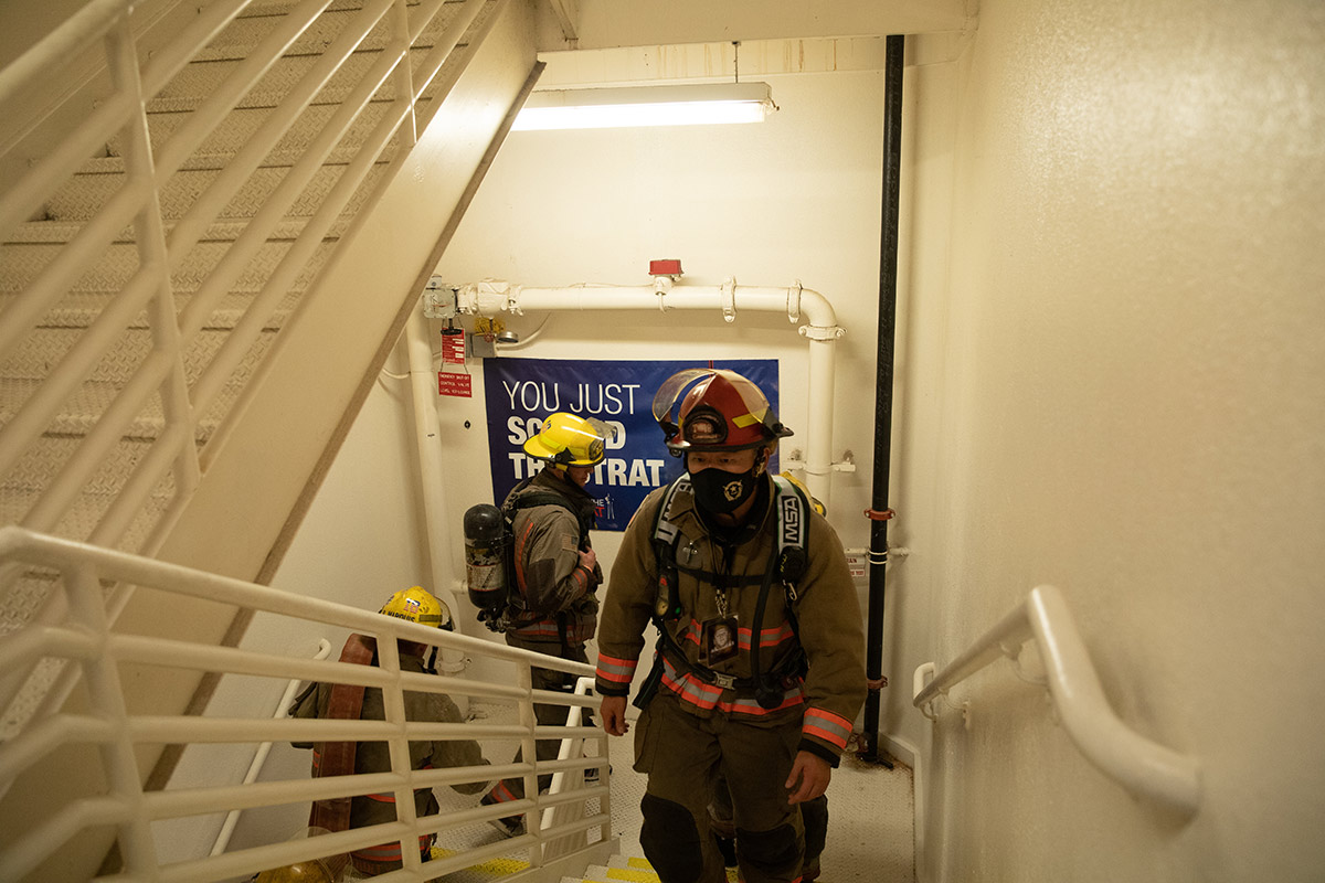 Firefighters Climbing The STRAT Hotel