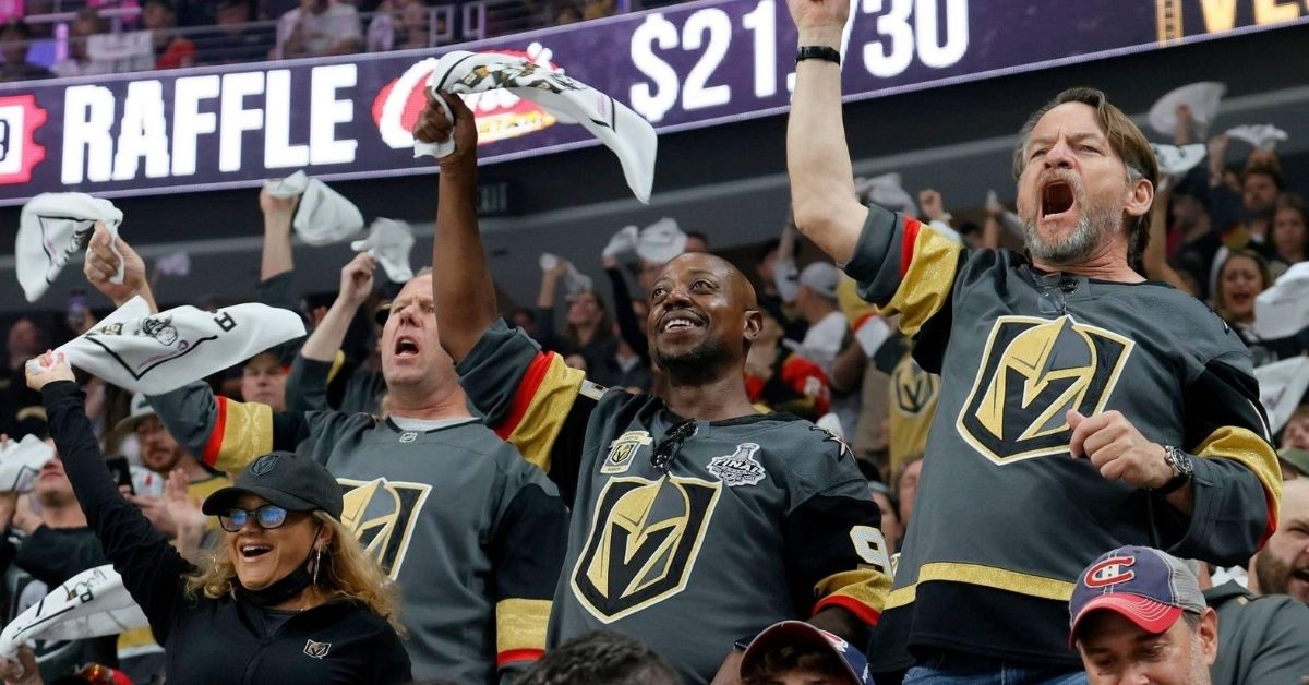 Vegas Golden Knights fans cheering at game. Photo taken from Vegas Golden Knights Facebook.