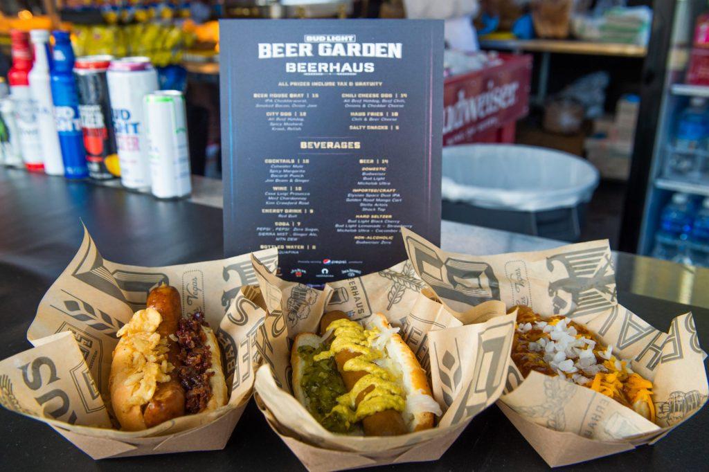 Beerhaus hot dogs inside the Bud Light Beer Garden.