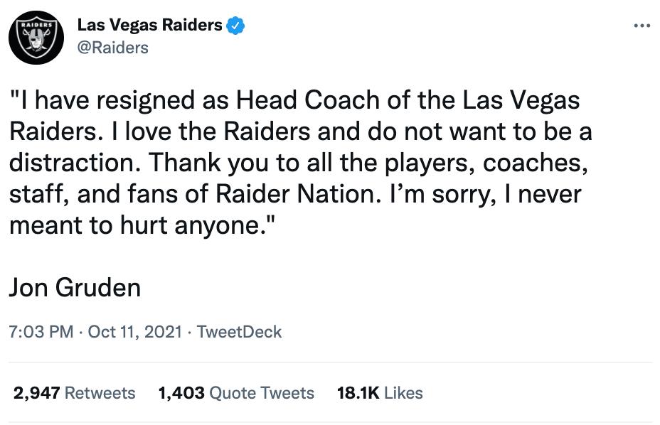 Las Vegas Raiders Tweet Gruden Resigns