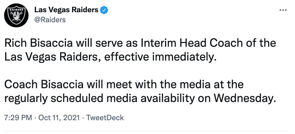 Las Vegas Raiders Tweet new coach Bisaccia